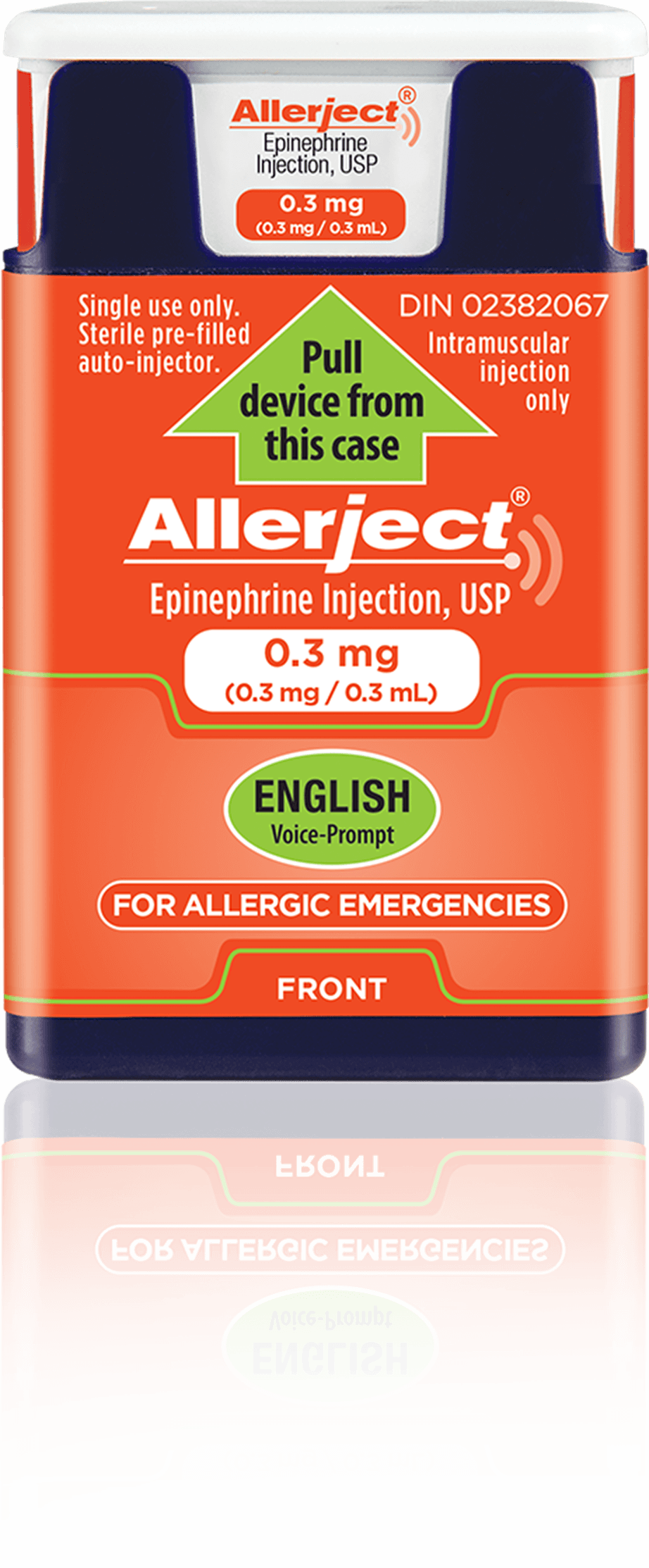 A 0.3 mg ALLERJECT device with the expiry date circled.